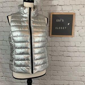 Live Love Dream womens silver puffer vest size L